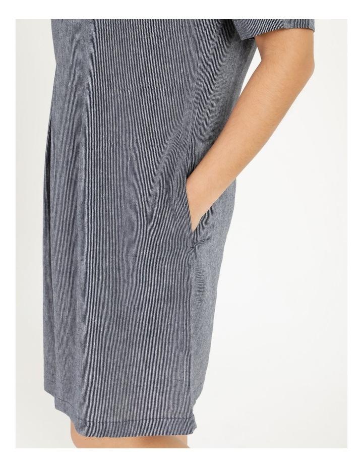 Short Sleeve Split Neck Dress With Front Tuck Navy/White Stripe image 6
