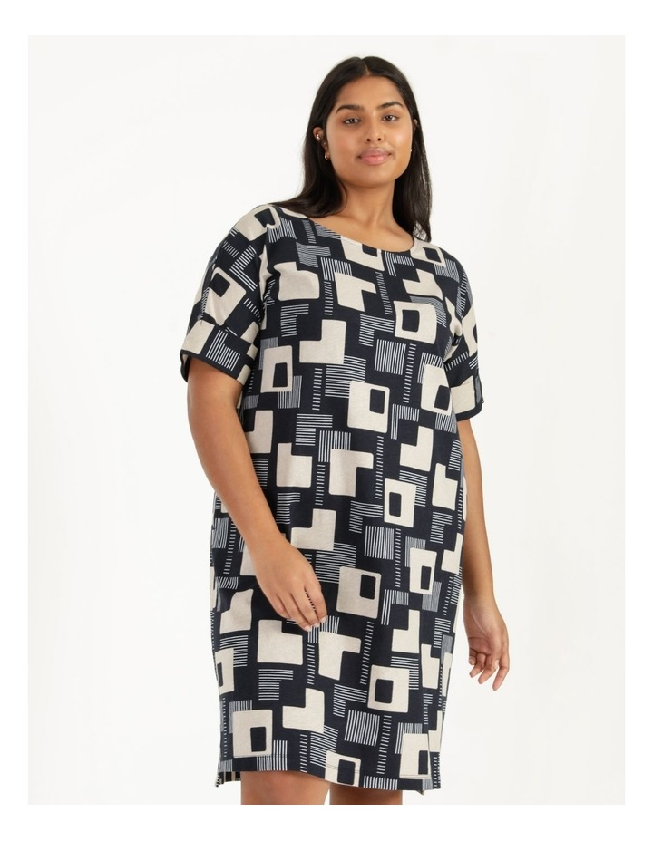 Short Sleeve Tee Dress With Fold Up Cuff Navy/Neutral/White Geo image 2