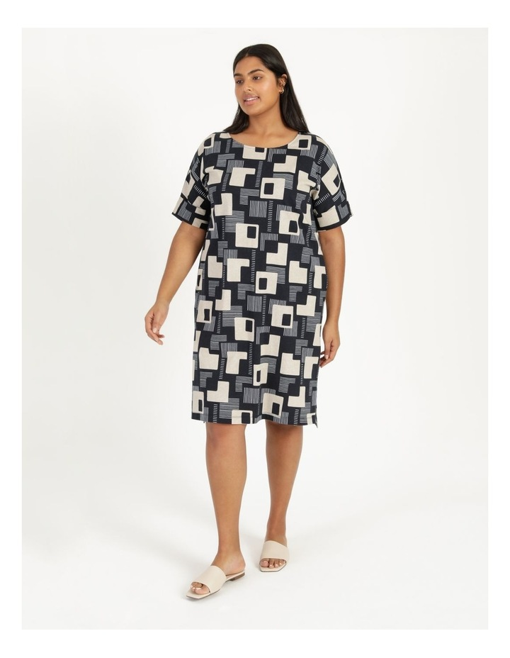 Short Sleeve Tee Dress With Fold Up Cuff Navy/Neutral/White Geo image 3
