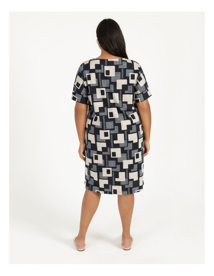 Short Sleeve Tee Dress With Fold Up Cuff Navy/Neutral/White Geo image 4