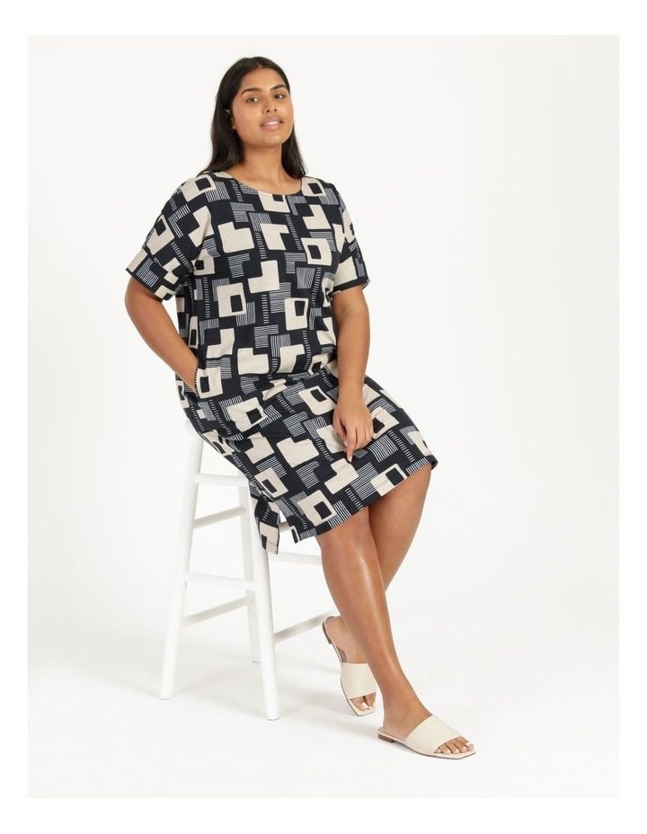 Short Sleeve Tee Dress With Fold Up Cuff Navy/Neutral/White Geo image 5