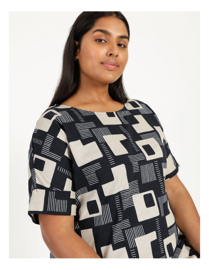 Short Sleeve Tee Dress With Fold Up Cuff Navy/Neutral/White Geo image 6
