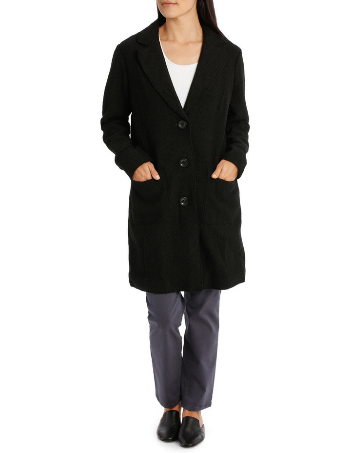 Boiled Wool Longline Long Sleeve Coat image 1
