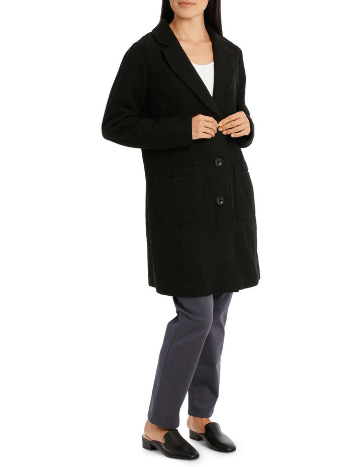 Boiled Wool Longline Long Sleeve Coat image 2
