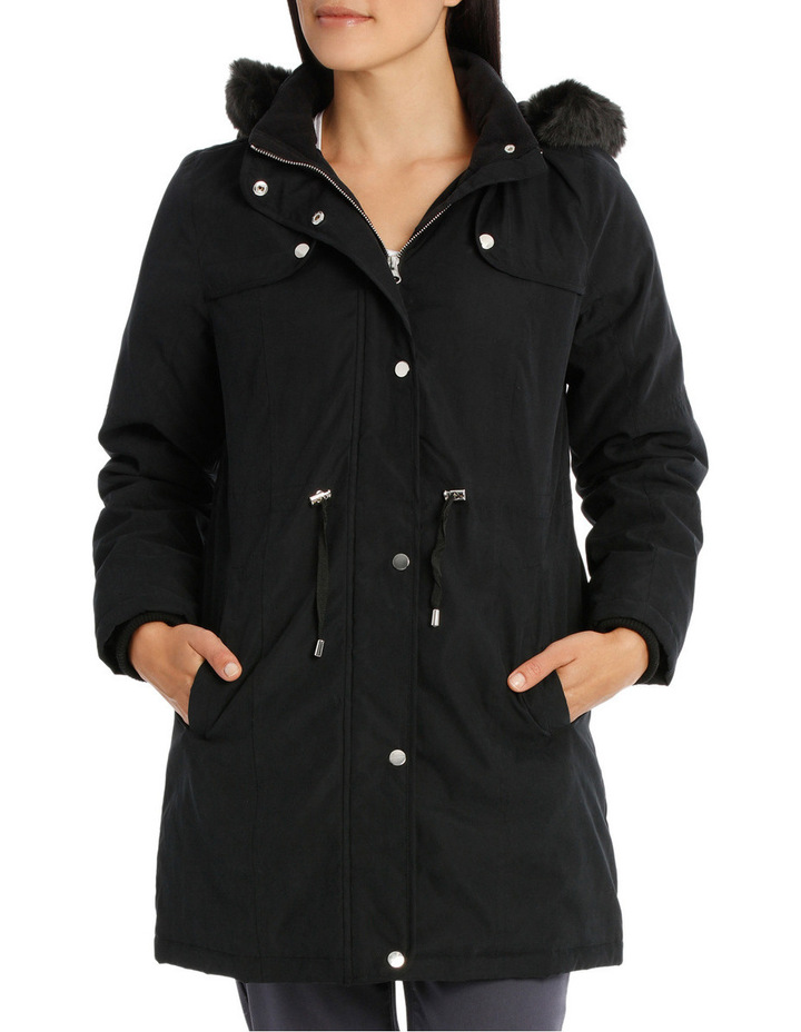 Soft Fur Trim Long Sleeve Jacket image 1