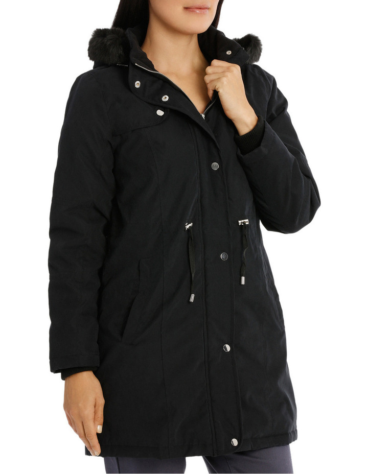 Soft Fur Trim Long Sleeve Jacket image 2