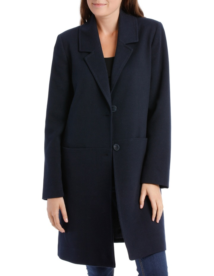 Rever Collar Coat With Hip Seam Pockets-Navy image 1
