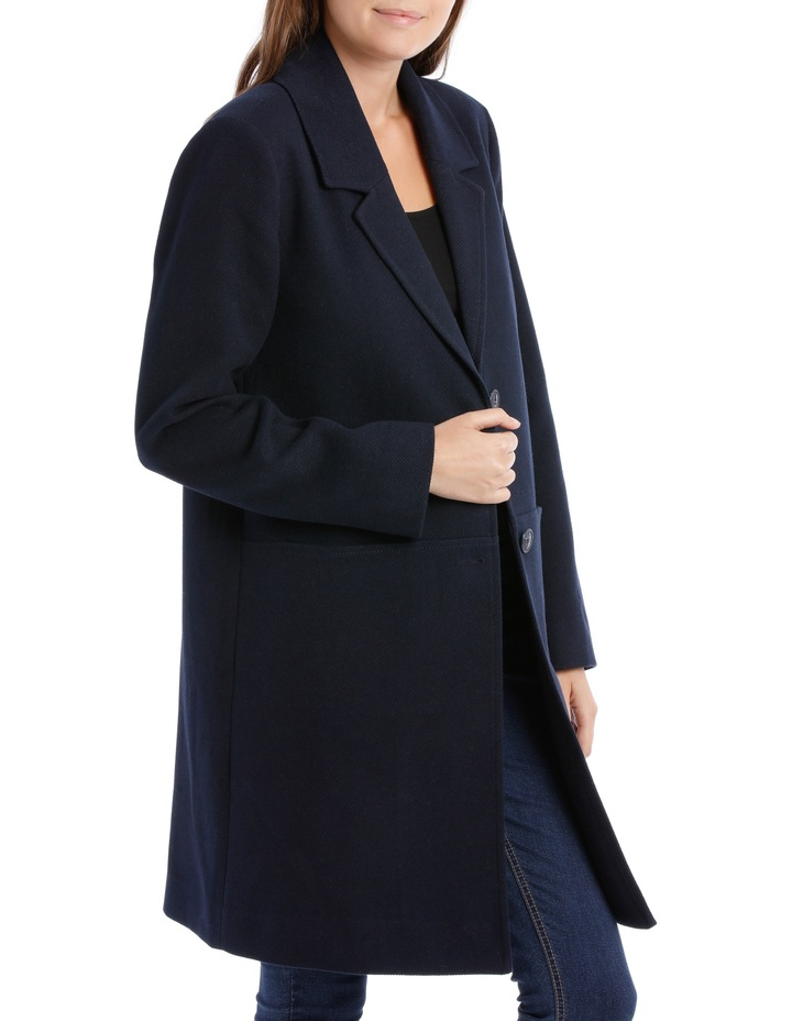 Rever Collar Coat With Hip Seam Pockets-Navy image 2