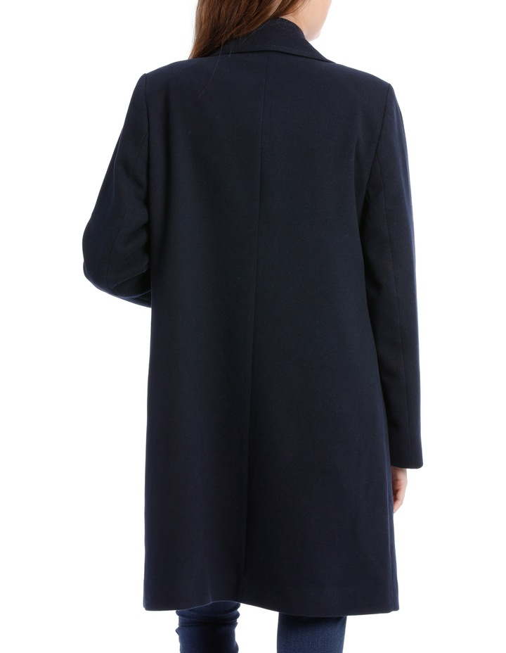 Rever Collar Coat With Hip Seam Pockets-Navy image 3
