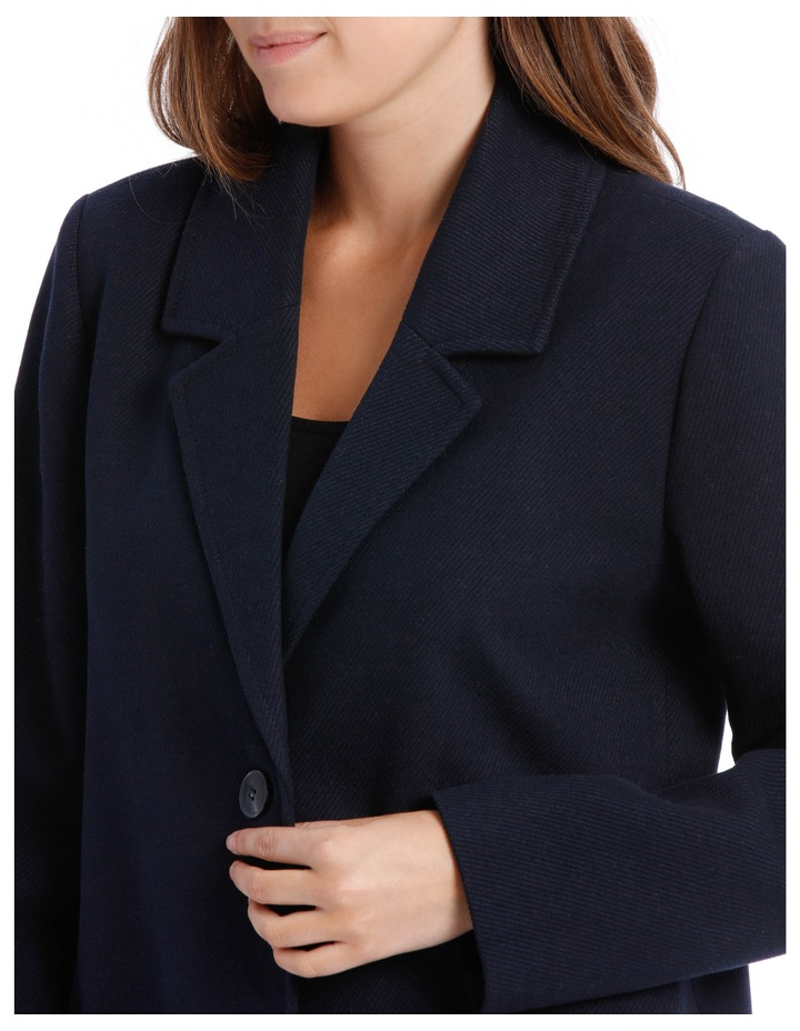 Rever Collar Coat With Hip Seam Pockets-Navy image 4