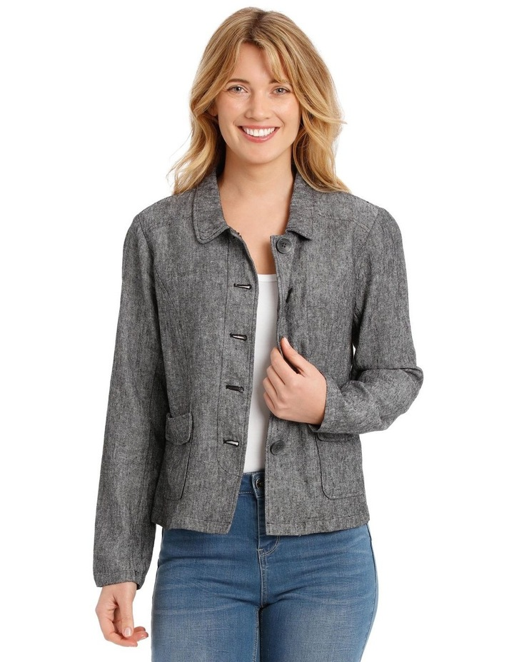 Button Through Short Jacket With Collar & Pockets image 1