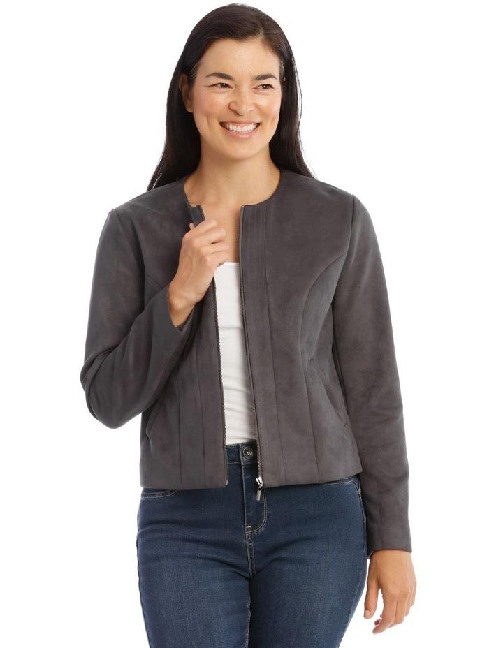 Zip Front Mock Suede Jacket image 1