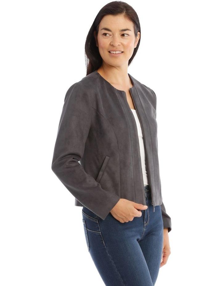 Zip Front Mock Suede Jacket image 2