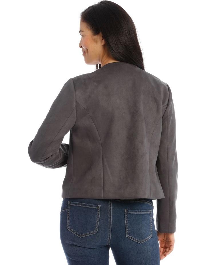 Zip Front Mock Suede Jacket image 3