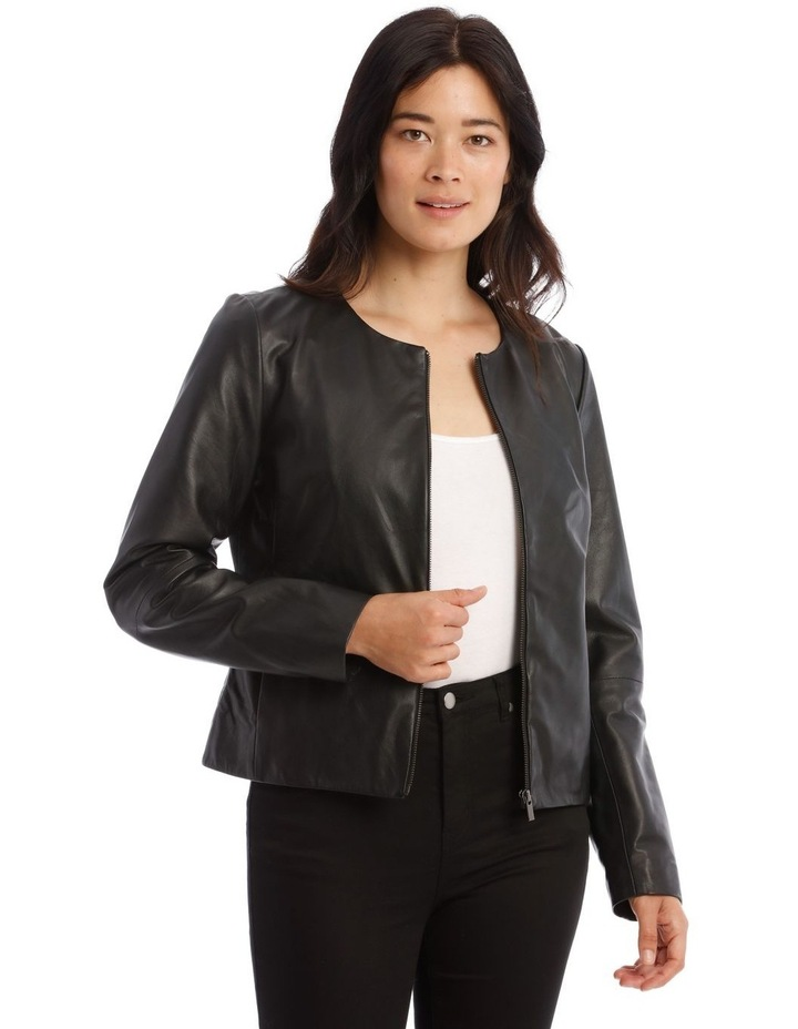 Zip Through Leather Jacket image 1