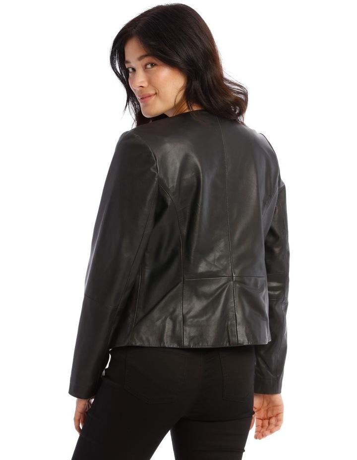 Zip Through Leather Jacket image 3
