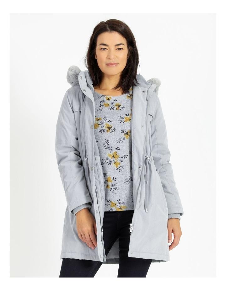 Ochre Dawn Long Line Soft Fur Trim Jacket image 1