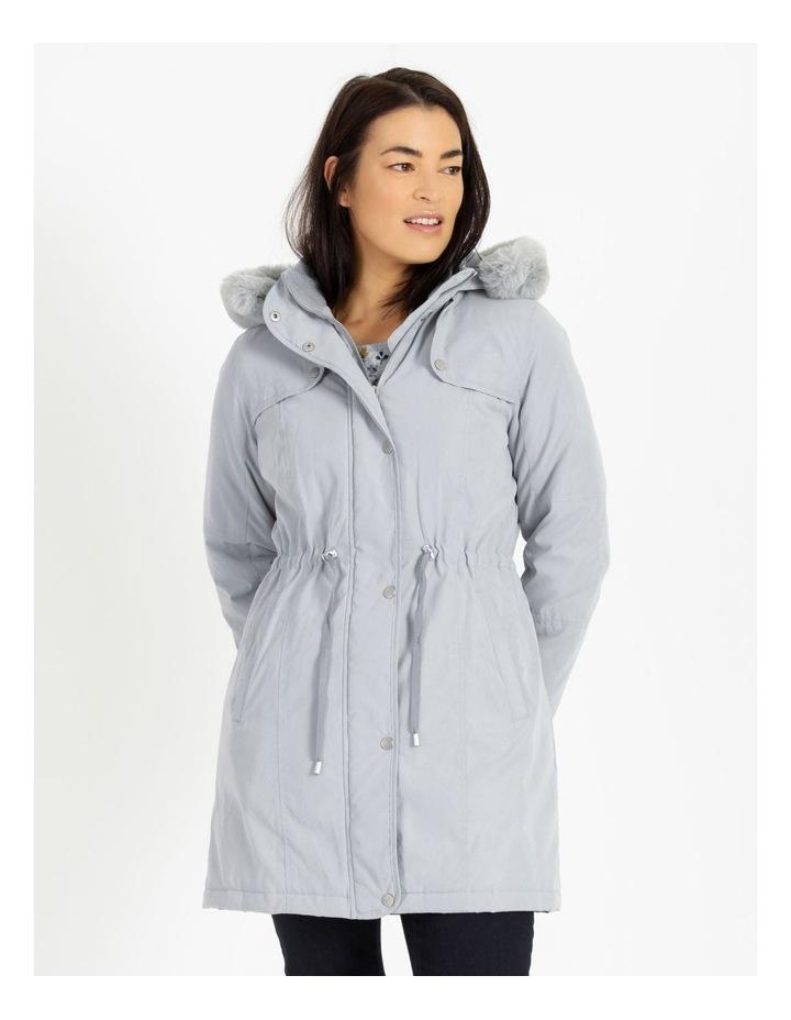 Ochre Dawn Long Line Soft Fur Trim Jacket image 4