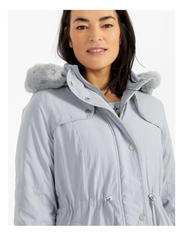 Ochre Dawn Long Line Soft Fur Trim Jacket image 5