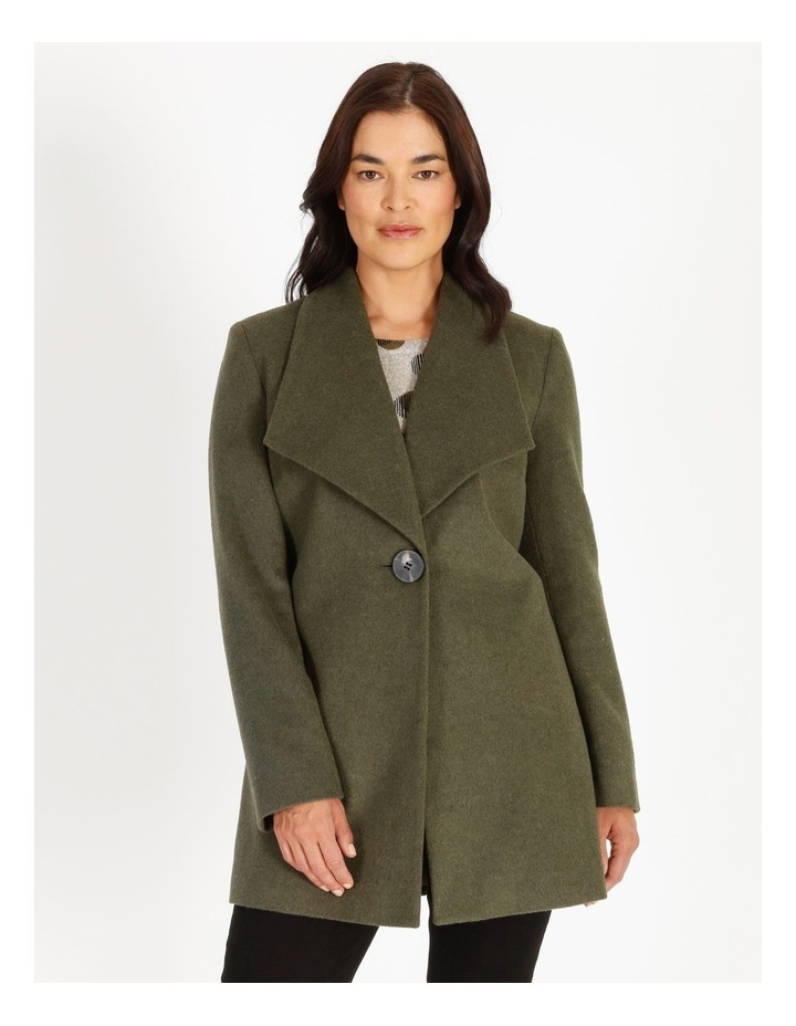 Olive Grove Shawl Collar Coat With Single Button image 4