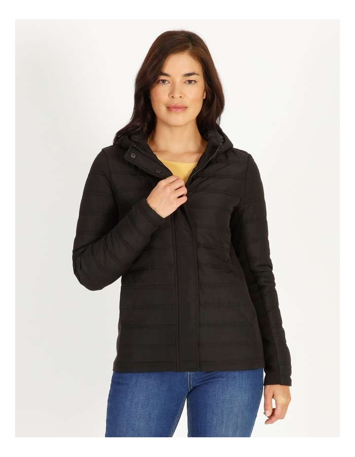 Burnished Rib Side & Sleeve Quilted Jacket With Hood image 1