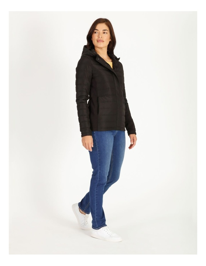 Burnished Rib Side & Sleeve Quilted Jacket With Hood image 2