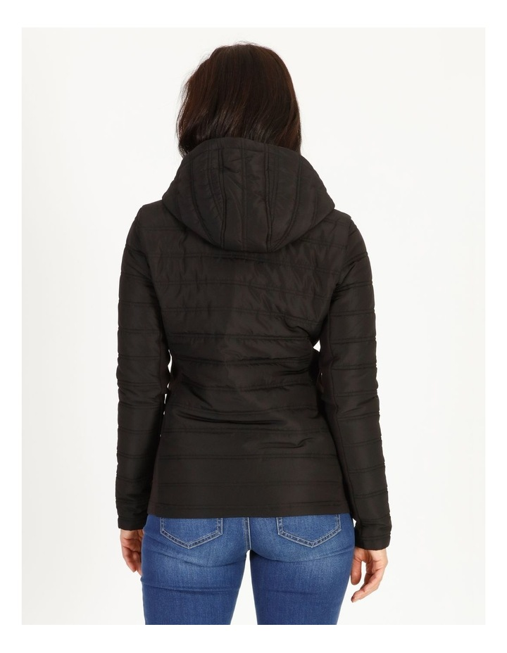 Burnished Rib Side & Sleeve Quilted Jacket With Hood image 3