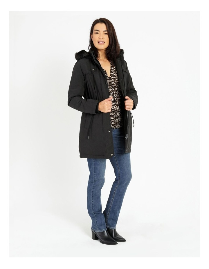Long Line Soft Fur Trim Jacket image 2