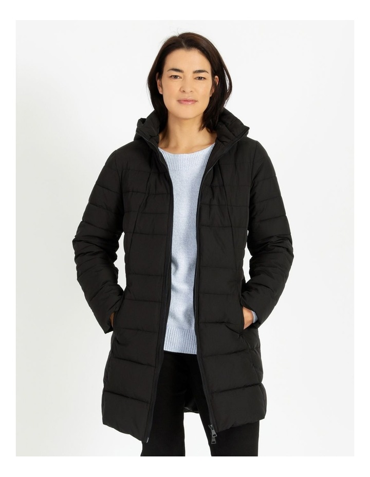 Long Line Straight Quilted Jacket With Fold Away Hood image 1