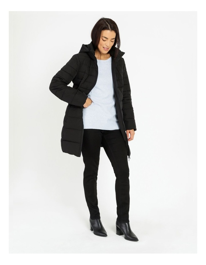 Long Line Straight Quilted Jacket With Fold Away Hood image 2