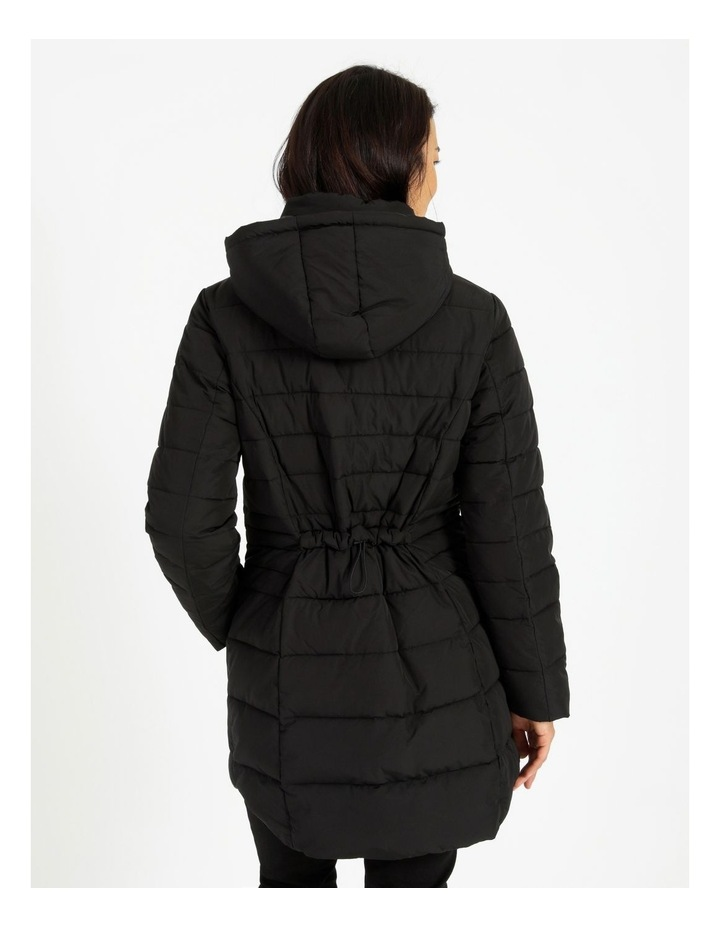 Long Line Straight Quilted Jacket With Fold Away Hood image 3