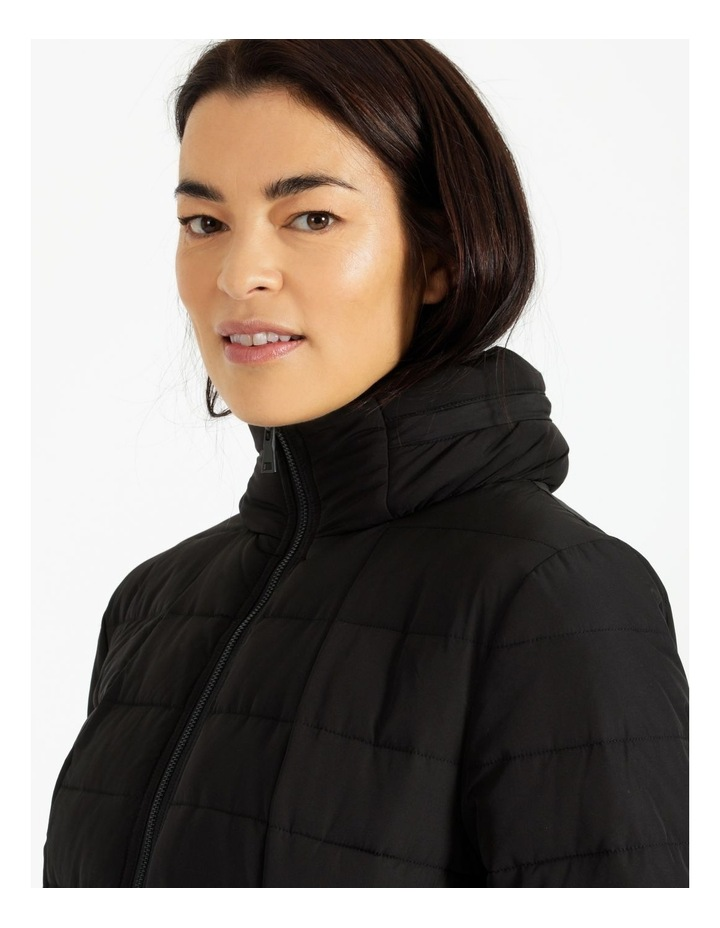 Long Line Straight Quilted Jacket With Fold Away Hood image 6