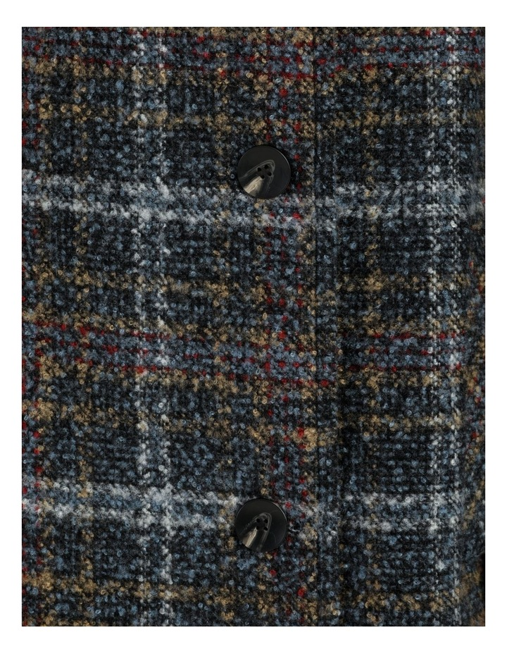 Funnel Neck Button Through Fleck Coat-Blue Check image 6
