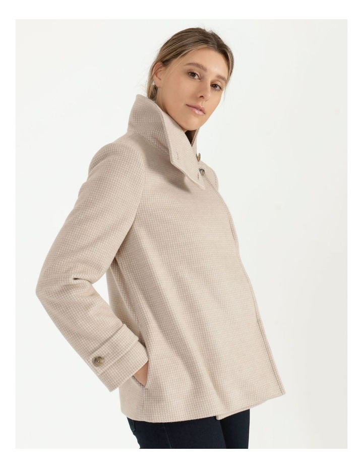 Funnel Neck Wrap Front Jacket Neutral Check image 1