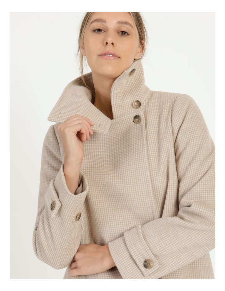 Funnel Neck Wrap Front Jacket Neutral Check image 2