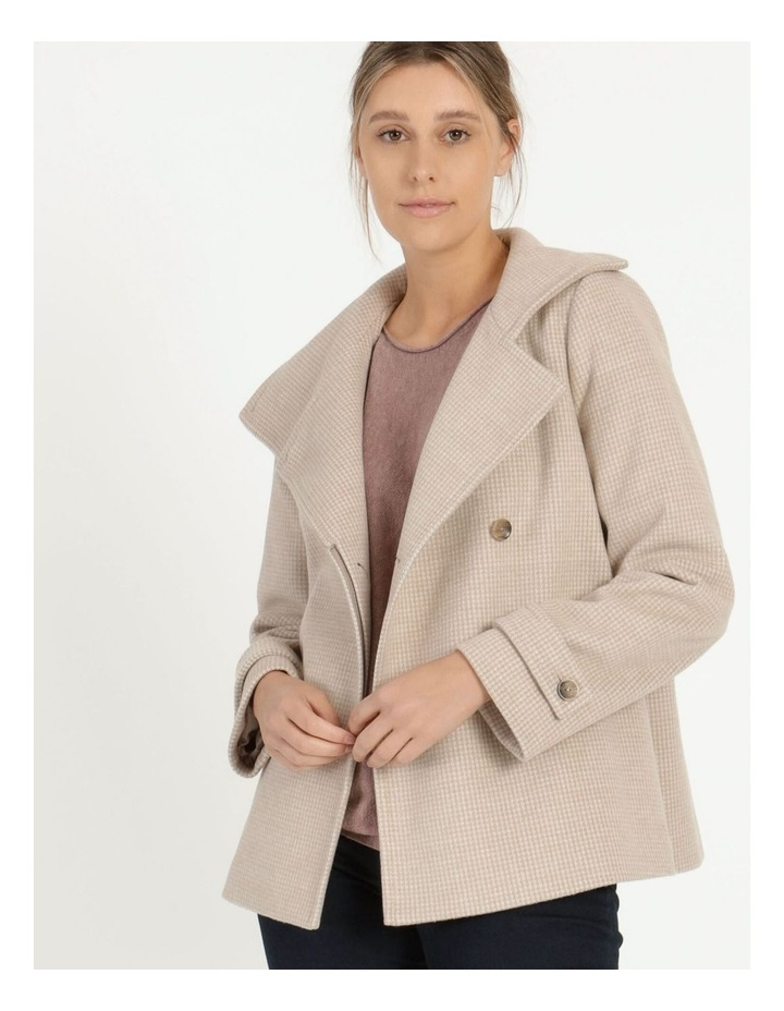 Funnel Neck Wrap Front Jacket Neutral Check image 3