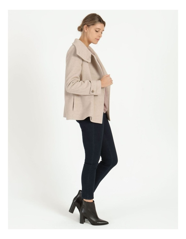 Funnel Neck Wrap Front Jacket Neutral Check image 4