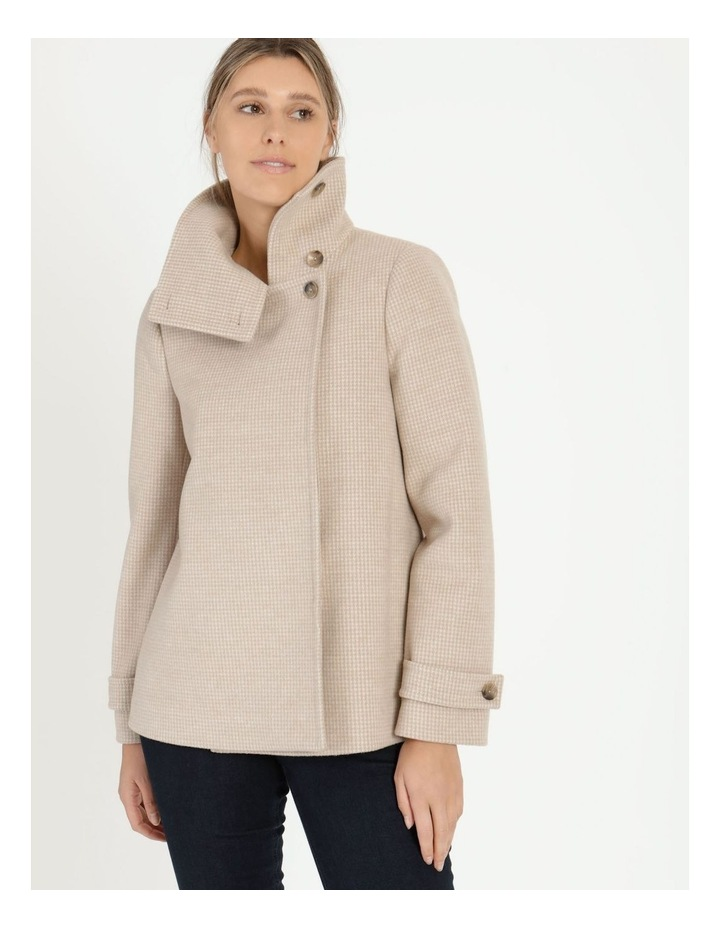 Funnel Neck Wrap Front Jacket Neutral Check image 5