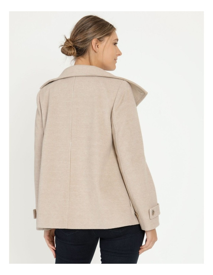 Funnel Neck Wrap Front Jacket Neutral Check image 6