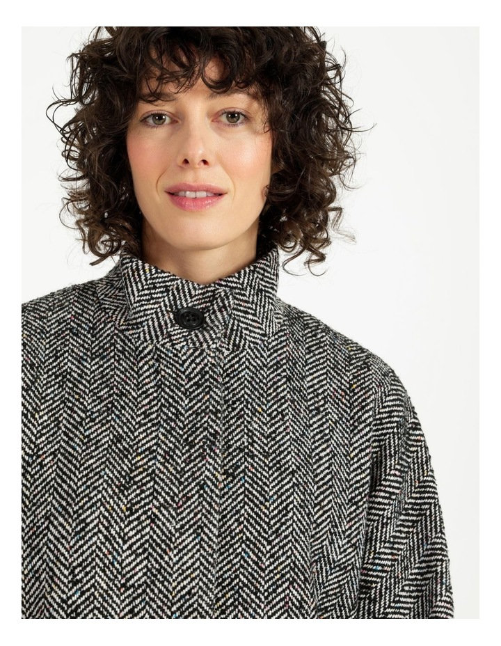 Funnel Neck With Button Raglan Sleeve Coat image 5