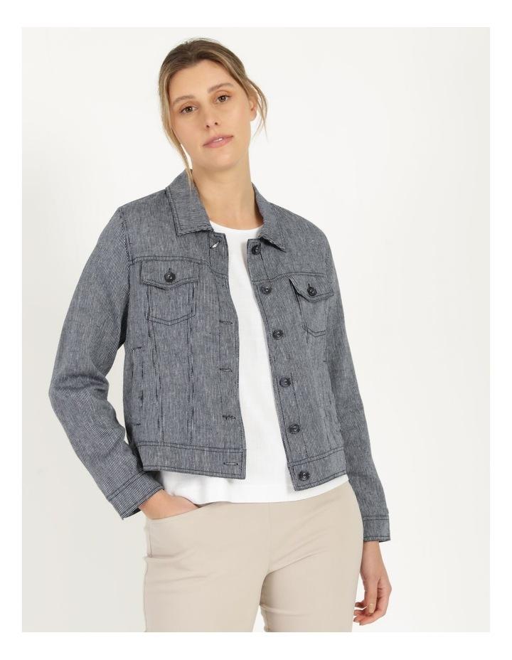 Linen Blend Jean Style Jacket Navy image 4