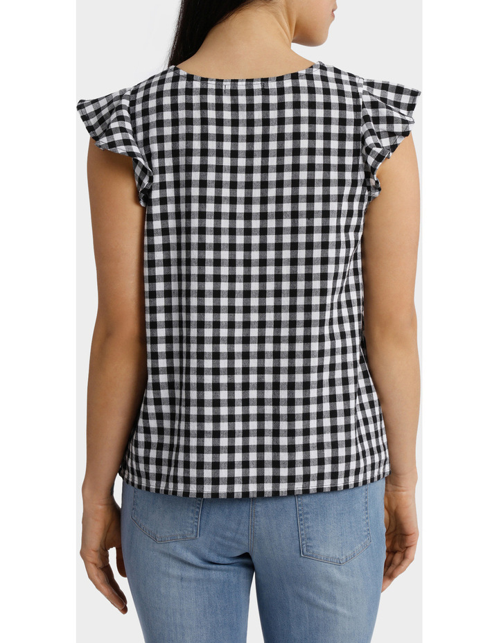 Gingham Embroidered Frill Sleeve Top image 3