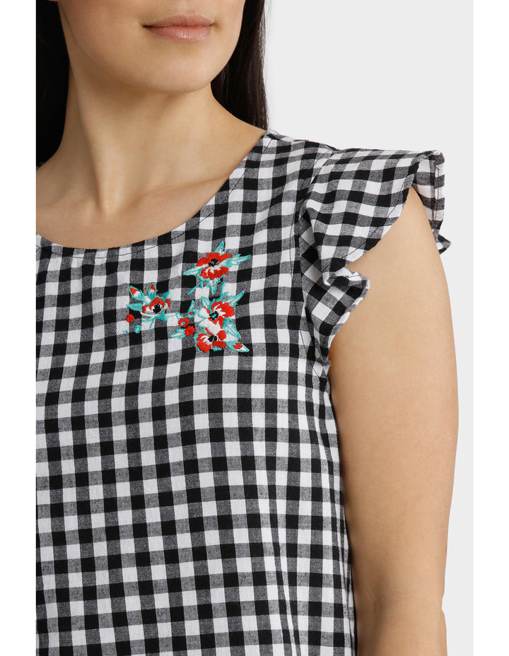 Gingham Embroidered Frill Sleeve Top image 4