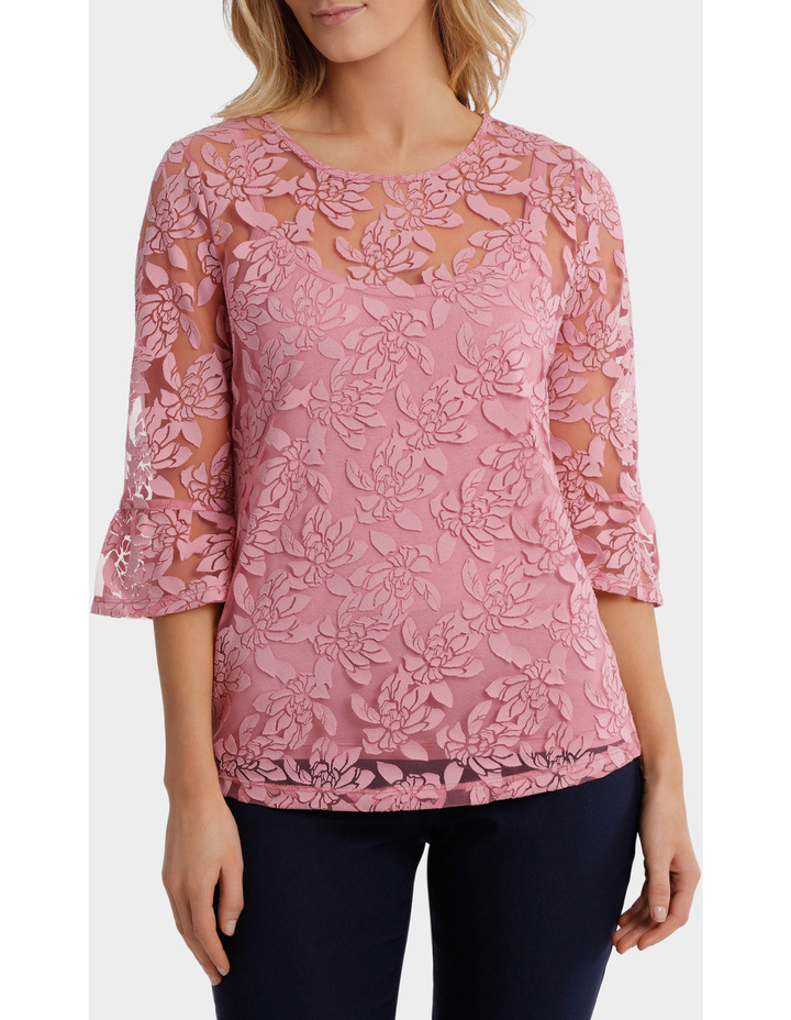 Burnout Woven 3/4 Sleeve Top image 1