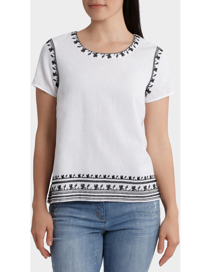 Contrast Embroidered Short Sleeve Top image 1
