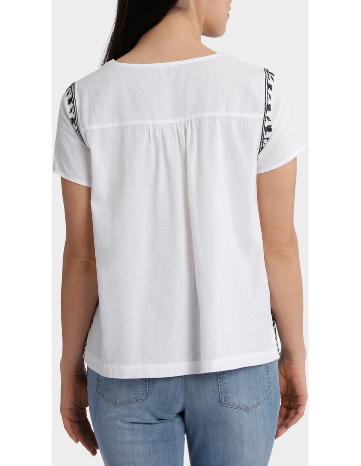 Contrast Embroidered Short Sleeve Top image 3