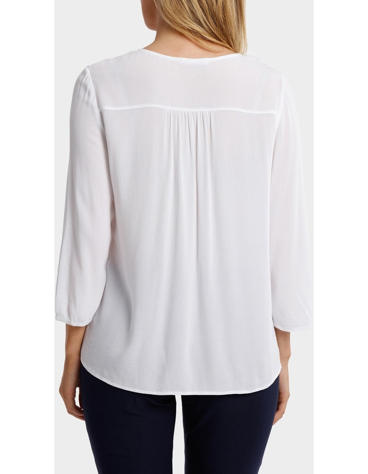 Solid Embroidered Neck 3/4 Sleeve Top image 3