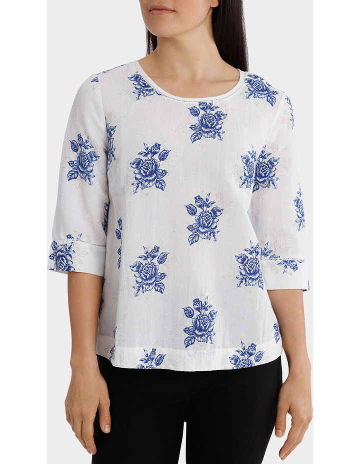 Chinoiserie Linen Blend Embroidered Sleeve Top image 1