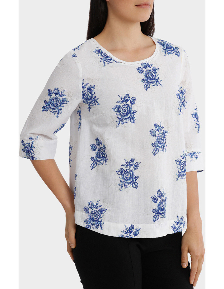 Chinoiserie Linen Blend Embroidered Sleeve Top image 2