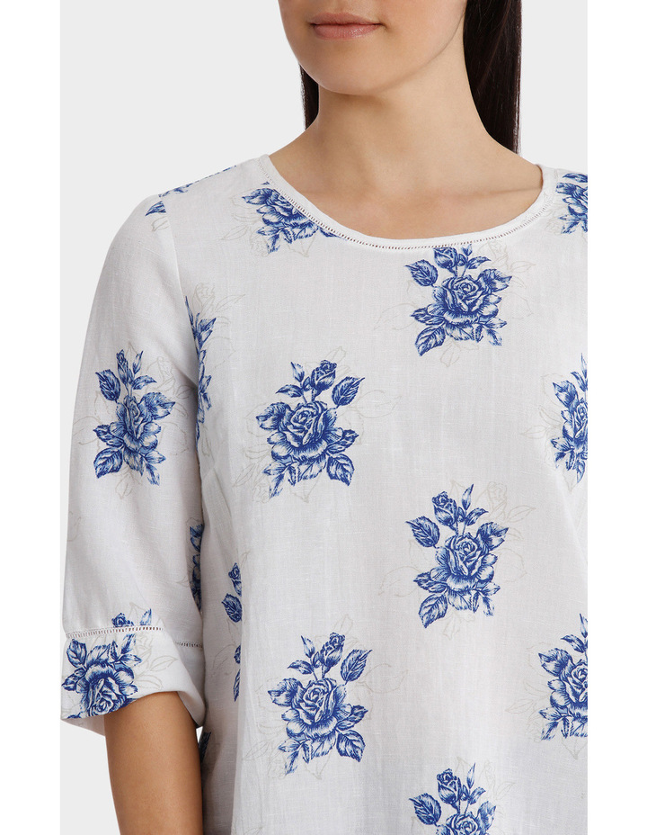 Chinoiserie Linen Blend Embroidered Sleeve Top image 4